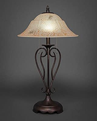 Toltec Lighting Olde Iron Bronze Two-Light Table Lamp with Italian Marble Glass
