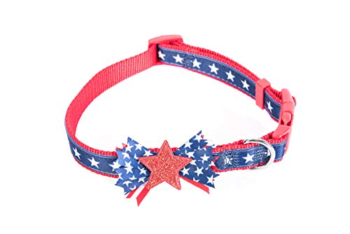 Fur Go Nylon Pet Dog Collar with Bowtie, Special Shining Star Design, Medium Size