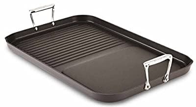 All-Clad E7959064 Hard Anodized Aluminum Scratch Resistant Nonstick Anti-Warp Base Combo Grill / Griddle Specialty 13 by 20-Inch Cookware Pan, 20-Inch, Black