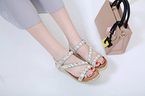 de Plage Sandales Dames des de Strass de Or Femmes Coin pour de Chaussures D'été Ruiren zaqgS8wq