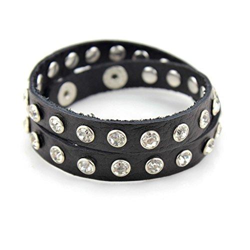 Balla Studded Bracelet with Adjustable Black Leather and Rhinestones