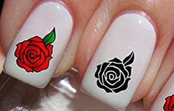Amazon Red And Black Rose Nail Art Stickers Decals Set Of 20