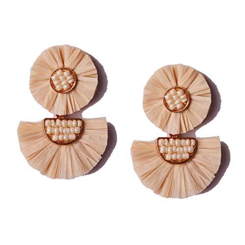 L&N Rainbery Bohemian Handmade Drop Earrings Fashion Beaded Raffia Palm Earrings for Women Tiered Dangle Statement Earrings (2 Layers Buckwheat) - Natural Color Straw