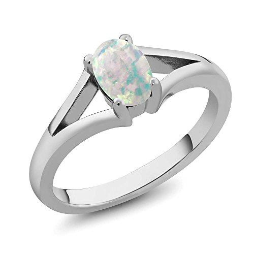 Cabochon Sterling Silver Ring - 0.63 Ct Oval Cabochon White Simulated Opal 925 Sterling Silver Solitaire Ring