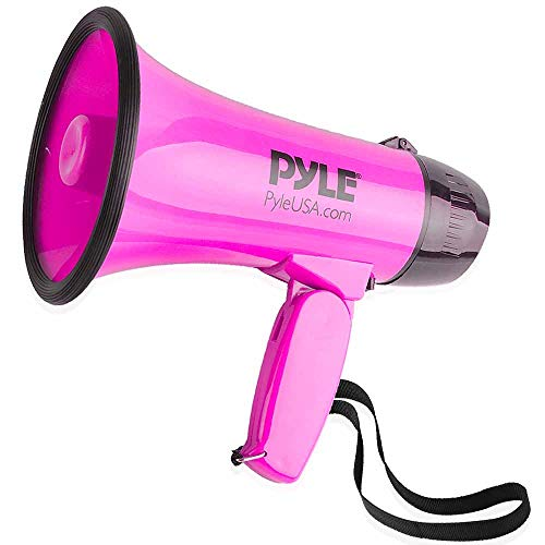 Portable Megaphone Speaker Siren Bullhorn - Compact and Battery Operated with 30 Watt Power, Microphone, 2 Modes, PA Sound and Foldable Handle for Cheerleading and Police Use - Pyle PMP34PK (Pink) -