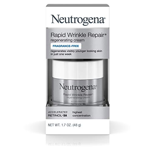 Neutrogena Rapid Wrinkle Repair Hyaluronic Acid Retinol Cream, Anti Wrinkle Cream, Face Moisturizer, Neck Cream & Dark Spot Remover for Face - Day & Night Cream with Hyaluronic Acid & Retinol, 1.7 oz (1.7 Ounce Cream)