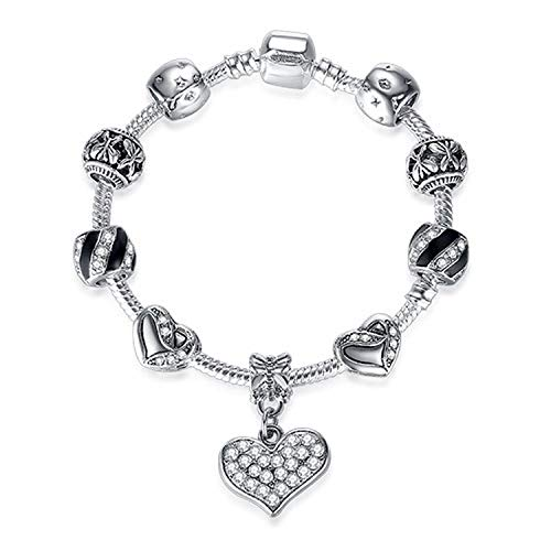 KEIRA HENDERSON Silver Color Heart Charms Bracelet Bangle for Women DIY Crystal Beads Fit Original Bracelets Women Jewelry,C39,17cm (Silver Bracelet For Baby Boy In India)