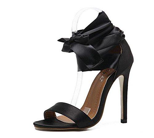 GLTER Mujeres sandalias de dedo del pie abiertos Zapatillas bowknot de cinta de encaje de tacón alto bombas de tobillo bombas zapatos Mary Jane negro black