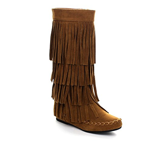 I LOVE KIDS Ava-18K Children's 3-Layers Fringe Moccasin Style Mid-Calf Boots,Rust,10 ()