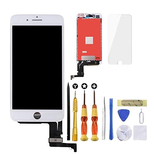 USlansis White iPhone 7 Plus Screen Replacement 3D Touch Screen Glass Digitizer Frame Assembly Set with Tempered Glass Screen Protector + Repair Tools + Instruction