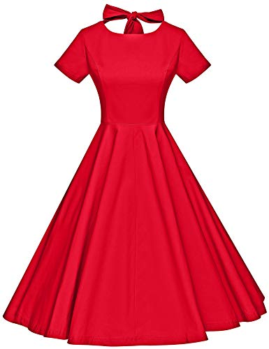 - GownTown Womens 1950s Vintage Retro Party Swing Dress Rockabillty Stretchy Dress Red