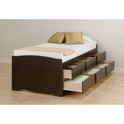 Twin 6 drawer Tall Platform Storage Bed