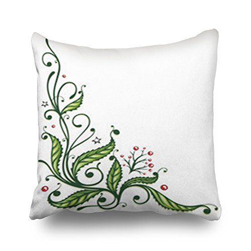 InnoDIY Throw Pillow Covers Branch Christmas Holly Filigree Berries Holidays Nature Twig Pillowslip Square Size 16 x 16 Inches Cushion Cases Pillowcases ()