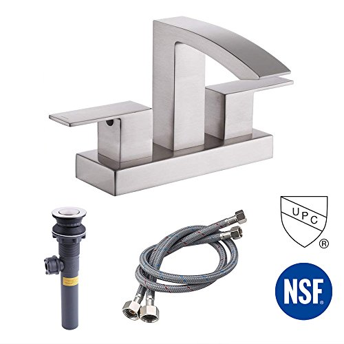 KES cUPC NSF Certified BRASS Two Handle Bathroom Waterfall Faucet with Drain Assembly Lavatory Vanity Sink Faucet 4-Inch Centerset Morden Square Hotel Style Brushed Nickel, (Waterfall Bar Sink Faucet)