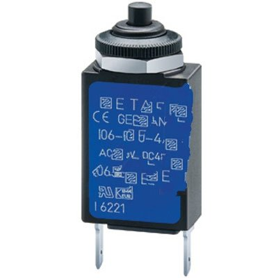 E-T-A Circuit Protection and Control 106-M2-P10-4A , Circuit Breaker; Therm; Push; Cur-Rtg 4A; Panel; 1 Pole; Vol-Rtg 240/48VAC/VDC