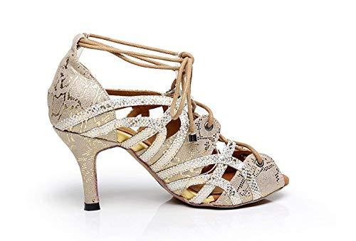 Fiesta Baile Salsa Hhgold Tamaño Reino Sintética Zapatos Latino Suave Unido Peep De Sandalias 3 Oro Goma Damas color Suela Toe B4qfBP6r
