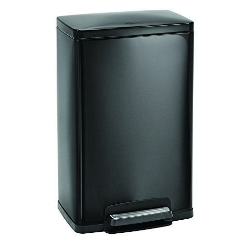 Tramontina Rectangular Step Can Freshener System, Trash Can (Charcoal Gray, 13-Gallon)