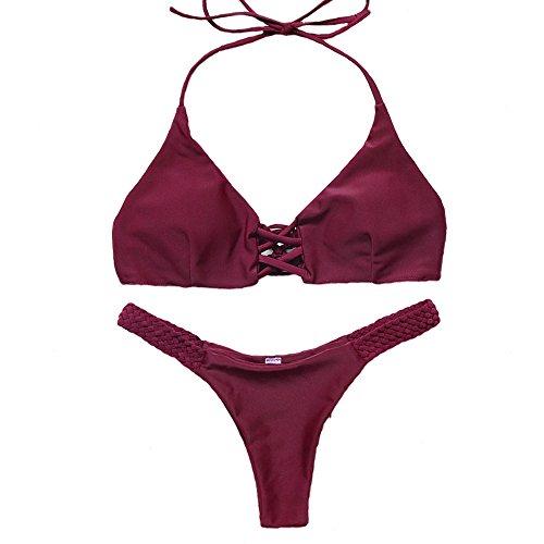 FY Mujeres Chicas Bañador Traje De Baño Crochet Tejer Bikini Tanga Halter Acolchado Push up Brasileño Triangle Ropa De Playa Swimwear Beachwear Vacaciones Verano Vino Rojo