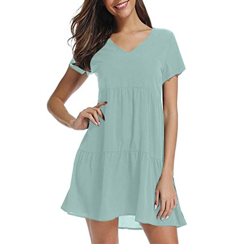 Sunhusing Ladies Casual Solid Color V-Neck Short Sleeve Pleated Waist-Tie Ruffled Hem Loose Swing Dress Mint Green