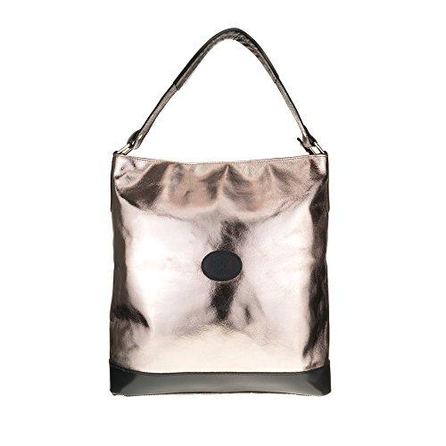 FIRENZE ARTEGIANI.Bolso shopping bag de mujer piel auténtica.Bolso mujer cuero genuino acabado metalizado.Asas en piel Dollaro. MADE IN ITALY. VERA PELLE ITALIANA. 36x31,5x14 cm. Color: AZUL MARINO DORADO/NEGRO