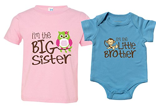 Nursery Decals and More Big Sister Outfit with Owl, Little Brother Bodysuit, Includes Size 4 and 3-6 mo