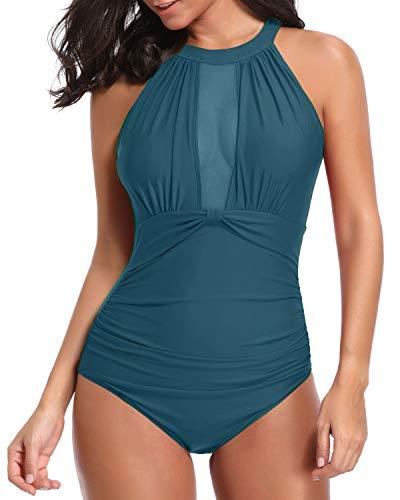 Tempt-Me-Women-One-Piece-High-Neck-V-Neckline-Mesh-Ruched-Monokini-Swimwear-Malachite-Green-XL