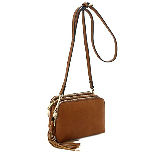 Brown Crossbody Mini Compartment Triple with Tassel Light Bag xq0AnwESO