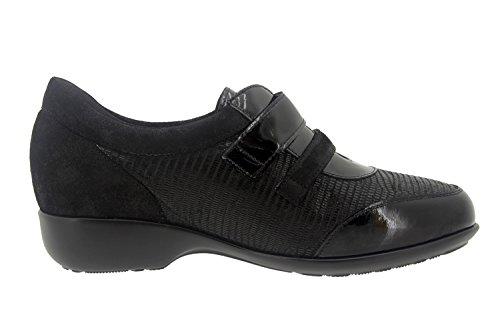 Calzado mujer confort de piel Piesanto 7676 zapato abotinado casual cómodo ancho Negro
