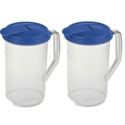 Plastic Pitcher With Lid - Sterilite 2 Quart Round Plastic Hinged Pitcher, Sky Blue Lid | 04864106 (pack of 2)