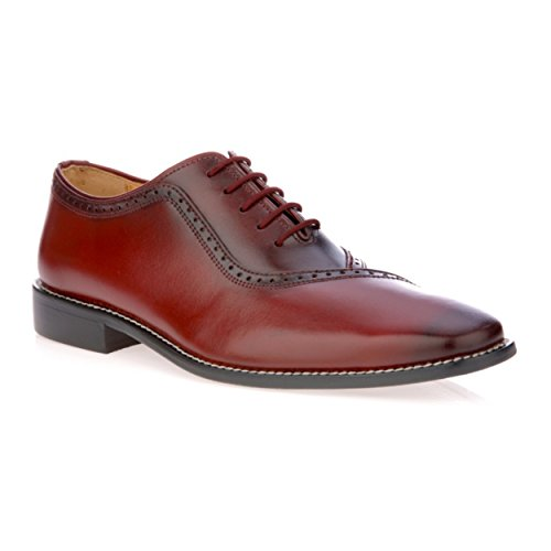 Oxford Leather Shop - Liberty Men's Handmade Leather Oxford Lace up Burnished Toe Dress Shoes