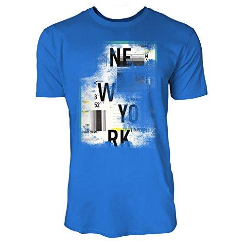 SINUS ART ® Abstrakte Collage – New York District Herren T-Shirts in Blau Fun Shirt mit tollen Aufdruck