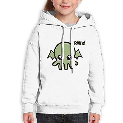 Vintopia Girls Cutie Baby Cthulhu Casual Style Hiking White Hoodie L