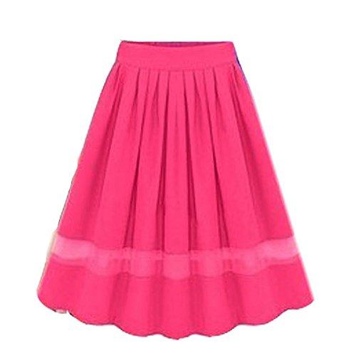 Minetom Femmes lgante Jupe Taille Haute Plisse A-Line Jupe pissure Cocktail Jupe Rose