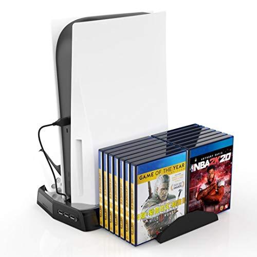 Soporte vertical para controladores PS5 con ventilador de refrigeración, con puertos de carga de controlador dual para…