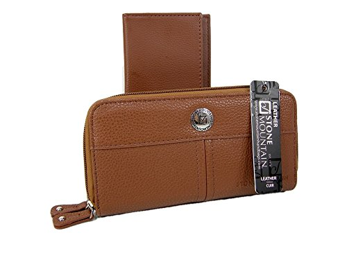 Jewelry Stone Mountain - New Stone Mountain Wallet & Checkbook Cover Genuine Leather 2 Piece Set Tan Brown