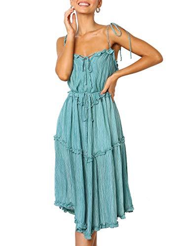 - ZESICA Women's Summer Adjustable Strappy Backless Irregular Hem Beach Swing Casual Midi Dress Green