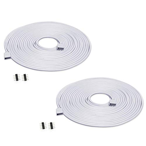Zitrades LED Strip Connector 4 Pin, Compatible with 10mm Width SMD 5050 RGB Strip Light, Strip to Strip Jumper (2PCS 5M Extension Cable)