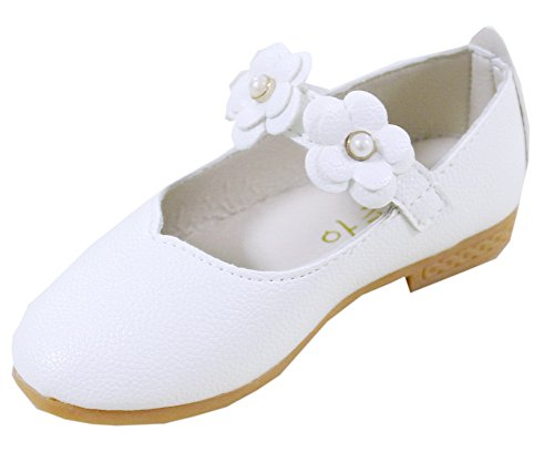 Vokamara Baby Toddler Girls Soft PU Leather Mary Janes Flowers Bow Dress Shoes (10.5 M US Little Kid, X-White)