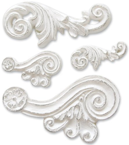 """Melissa Frances CX710 4-Pack Resin Embellishments, Scroll, 0.25 by 0.875"""" to 1 by 1.75"""""""