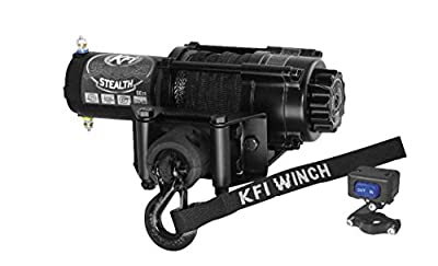 New KFI 2500 lb Stealth Edition Winch & Model Specific Mounting Bracket - 2013-2016 Polaris Scrambler 850 ATV