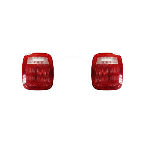 Fits Jeep Wrangler 1987-2006 Pair of Tail Light Lens Only W/GASKET& SCREW R=L Driver and Passenger Side CH2808106, CH2808106 (Tail Jeep Lens Light)