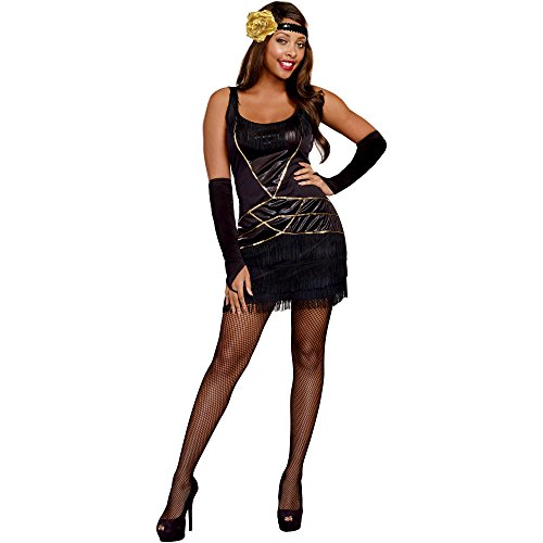 Miss Behavin' Flapper 70's Adult Women's Halloween Costume, X-Large (14-16)