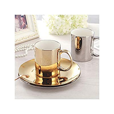 Europe Coffee Cup Set Gold/Silver New bone china Tea Cup Set Electroplated cups and saucers Home Party Drinkware