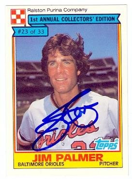 Jim Palmer autographed baseball card (Baltimore Orioles) 1984 Topps Ralston Purina #23 (Palmer Jim Card)