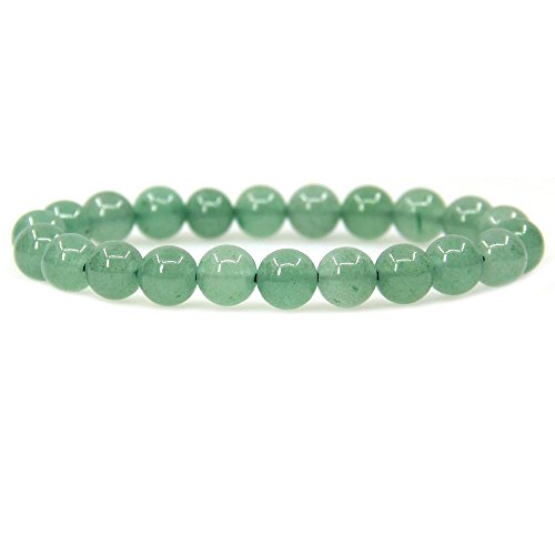 - Natural Green Aventurine Gemstone 8mm Ball Beads Stretch Bracelet 7