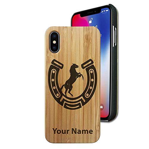 Bamboo case Compatible with iPhone X and iPhone Xs, Horseshoe with Horse, Personalized Engraving Included