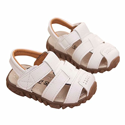 78bdccdf64b0d Boy Outdoor Sport Casual Closed-Toe Sandals Soft Sole Shoes (Toddler Little  Kid)-21(White-1) …