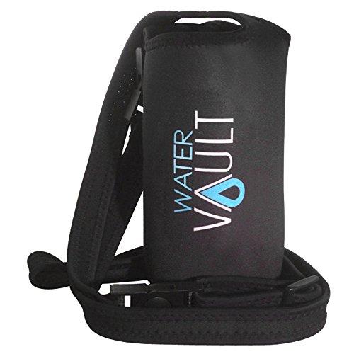 Water Vault Deluxe Neoprene Bottle Holder, Adjustable Detachable Strap, Shoulder Sling & Hand Carrier Available in 2 Sizes: Regular & XL (Asstd. Colors, XL fits 40oz Hydro Flask Type Bottle) (Buddy Holster)