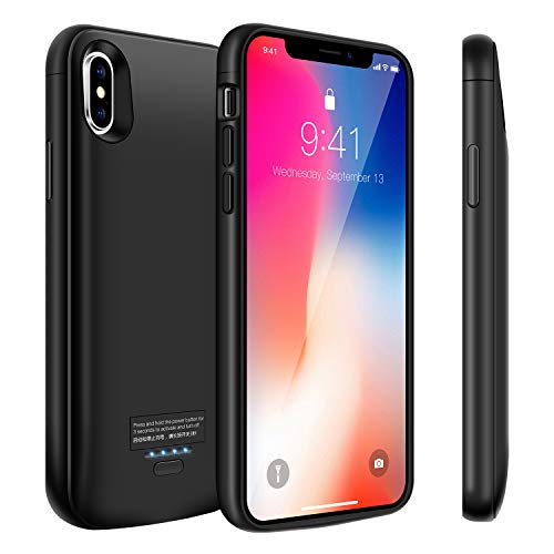 Modernway Battery Case for iPhone Xs/X, 4000mAh Portable Charger Case, Rechargeable Extended Battery Charging Case for iPhone Xs/X (5.8 inch), Compatible with Wire Headphones-Black