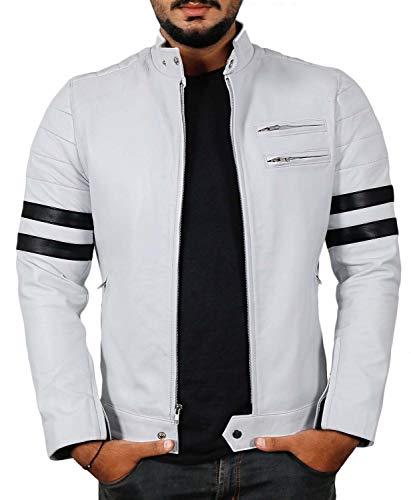 (Laverapelle Men's Genuine Lambskin Leather Jacket (White-Black, Medium, Polyester Lining) - 1501535)